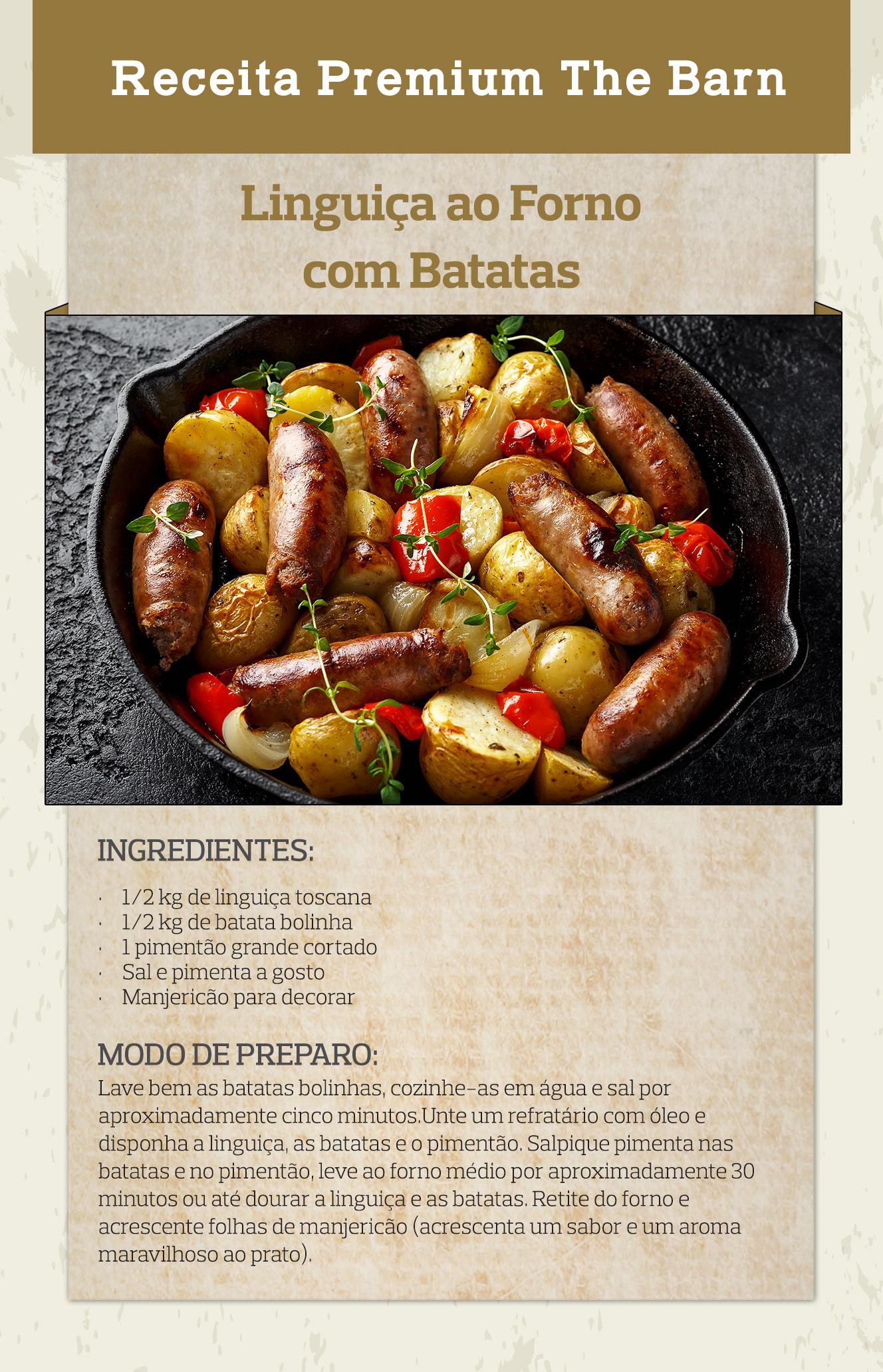 Linguiça ao forno com batatas
